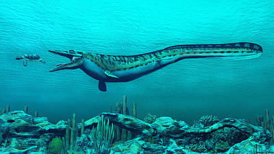 Mosasaurs Poster by Walter Colvin