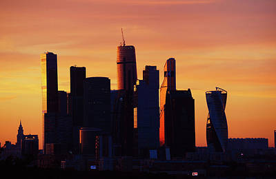 Moscow City In Sunset Poster by Jenny Rainbow
