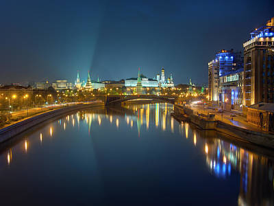 Poster featuring the photograph Moscow Kremlin At Night by Alexey Kljatov