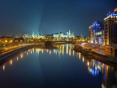 Moscow Kremlin At Night Poster by Alexey Kljatov