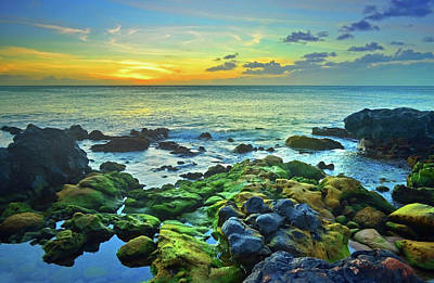 Poster featuring the photograph Moss Covered Rocks At Sunset In Molokai by Tara Turner