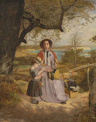 Mother And Child By A Stile, With Culver Cliff, Isle Of Wight, In The Distance Poster by James Collinson