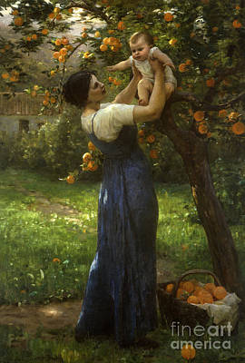 Mother And Child In An Orange Grove Poster by Virginie Demont-Breton
