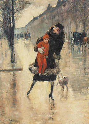 Mother And Child On A Street Crossing Poster by Lesser Ury