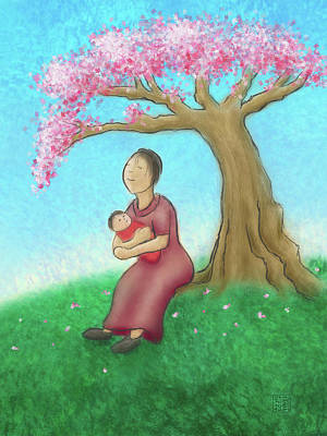 Mother And Child With Cherry Blossoms Poster