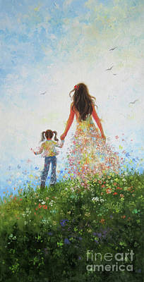 Mother And Daughter In Flowers	 Poster by Vickie Wade