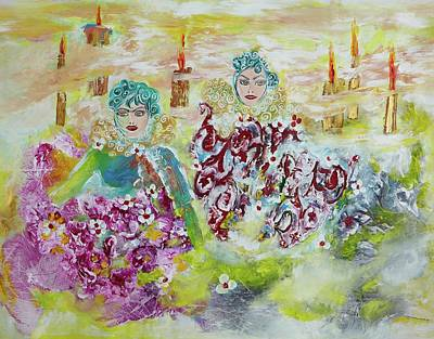 Poster featuring the painting Mother And Daughter In Peace by Sima Amid Wewetzer
