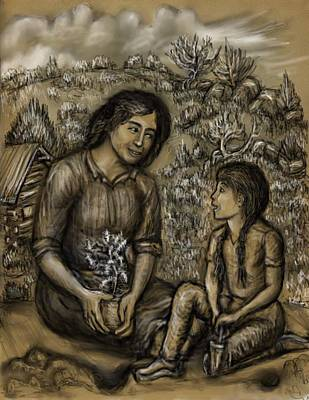 Mother And Daughter In The Garden Poster