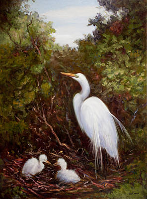 Mother Egret And Nestlings Poster