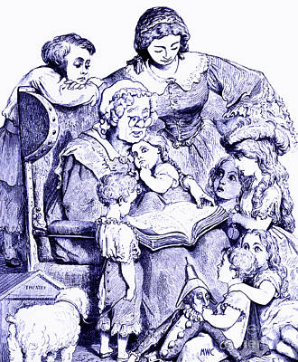 Mother Goose Reading To Children Poster by Marian Cates