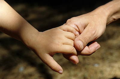 Mother Holding Baby Daughter's Hand Poster