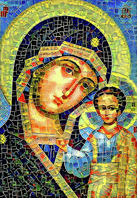 Mother Mary Mosaic Icon 1 Poster