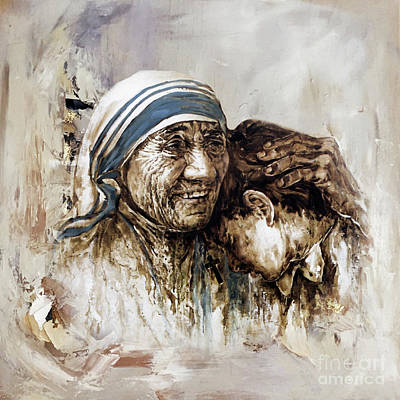 Poster featuring the painting Mother Teresa  by Gull G