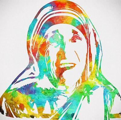 Mother Teresa Watercolor Poster by Dan Sproul
