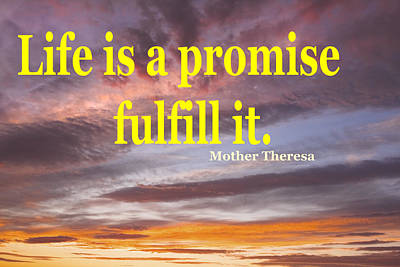Mother Theresa Quote And Colorful Clouds At Sunset Poster