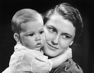 Mother With Baby Girl (9-12 Months) Posing In Studio, (b&w), Portrait Poster
