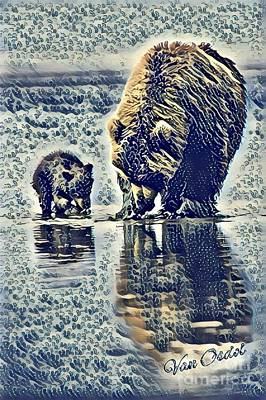 Mother With Young Cub - At The Rivers Edge Abstract  Poster