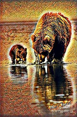 Mother With Young Cub - Reflections Of Fall Abstract  Poster