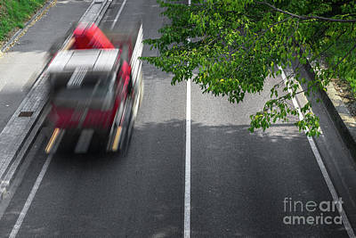 Motion Blur Of Cars Over The Road Poster