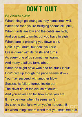 Motivational Poem - Do Not Quit Poster by Celestial Images