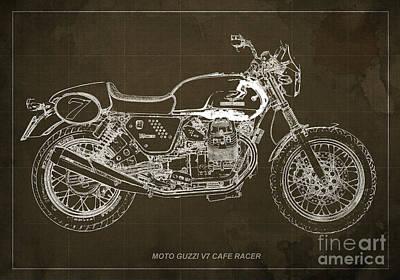 Moto Guzzi V7 Cafe Racer Poster by Pablo Franchi
