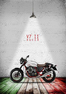 Moto Guzzi V7 Racer Poster by Mark Rogan