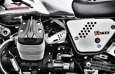 Moto Guzzi V7 Racer Monochrome Poster by Tim Gainey