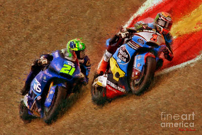 moto2 Tito Rabat Leads Franco Morbidelli Poster by Blake Richards