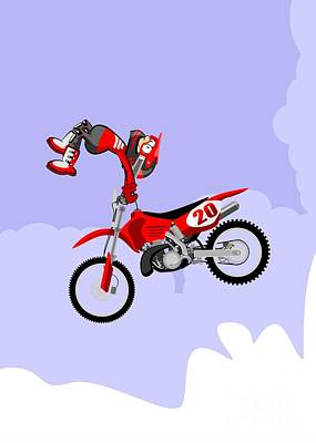 Motocross Rider Dressed In Red Jumping High Over The Sky With Clouds Performing A Dangerous Pirouett Poster