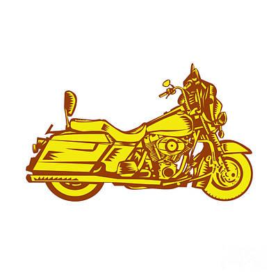Motorcycle Motorbike Woodcut Poster