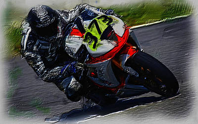 Motorcycle Racing 04a Poster by Brian Reaves