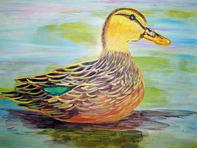 Poster featuring the painting Mottled Duck by Belinda Lawson