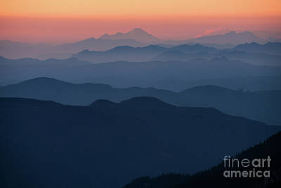 Mount Baker Sunset Landscape Layers Closer Poster by Mike Reid