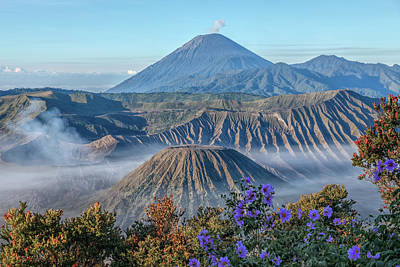 Mount Bromo In Clouds - Java Poster