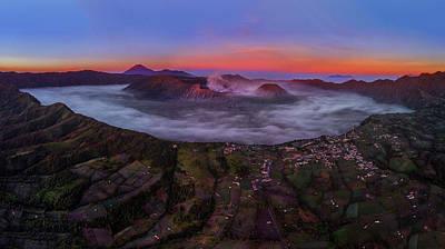 Poster featuring the photograph Mount Bromo Misty Sunrise by Pradeep Raja Prints