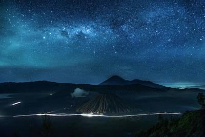 Mount Bromo Resting Under Million Stars Poster