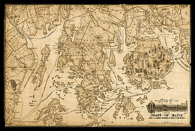 Mount Desert Isle And The Coast Of Maine Vintage Map Poster by John Stephens