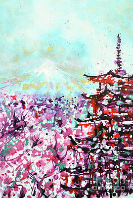Poster featuring the painting Mount Fuji And The Chureito Pagoda In Spring by Zaira Dzhaubaeva