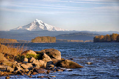 Mount Hood And The Columbia River Poster by Jim Walls PhotoArtist