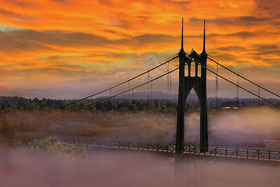 Mount Hood By St Johns Bridge During Sunrise Poster
