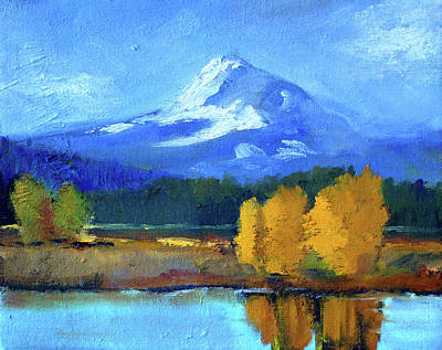 Poster featuring the painting Mount Hood by Nancy Merkle