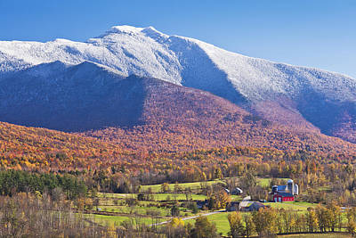 Mount Mansfield Autumn Snowfall Poster