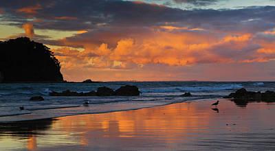 Mount Maunganui Beach Sunset Poster by John Buxton