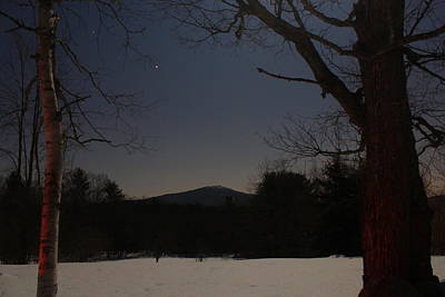 Mount Monadnock Over Moonlit Field Poster by John Burk