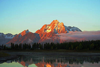 Mount Moran Aglow Poster by Brent Parks