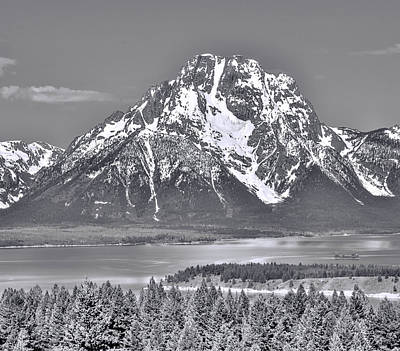 Mount Moran And Snake River Black And White Poster
