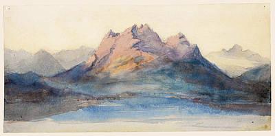 Mount Pilatus From Lake Lucerne, Switzerland Poster by John Ruskin