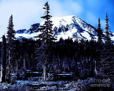 Poster featuring the photograph Mount Rainier Blue... by Eddie Eastwood