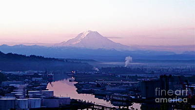 Poster featuring the photograph Mount Rainier Dawn Above Port Of Tacoma by Sean Griffin