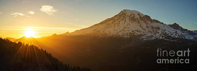 Mount Rainier Evening Light Rays Poster by Mike Reid